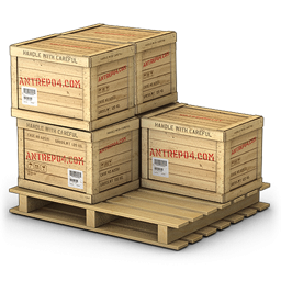 Pallet With Five Wooden Crates Icon, PNG ClipArt Image.