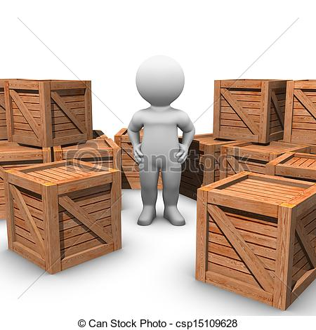 Clip Art of moving wooden crates.