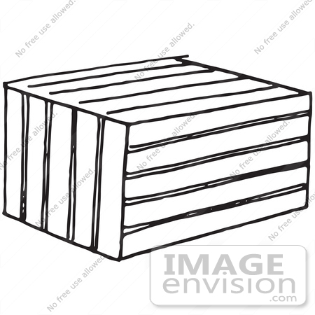 Clipart Of A Crate Or Animal Trap In Black And White.