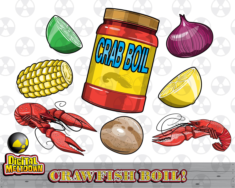 Louisiana Vector Clipart, Crawfish Boil Ingredients, Instant Download.