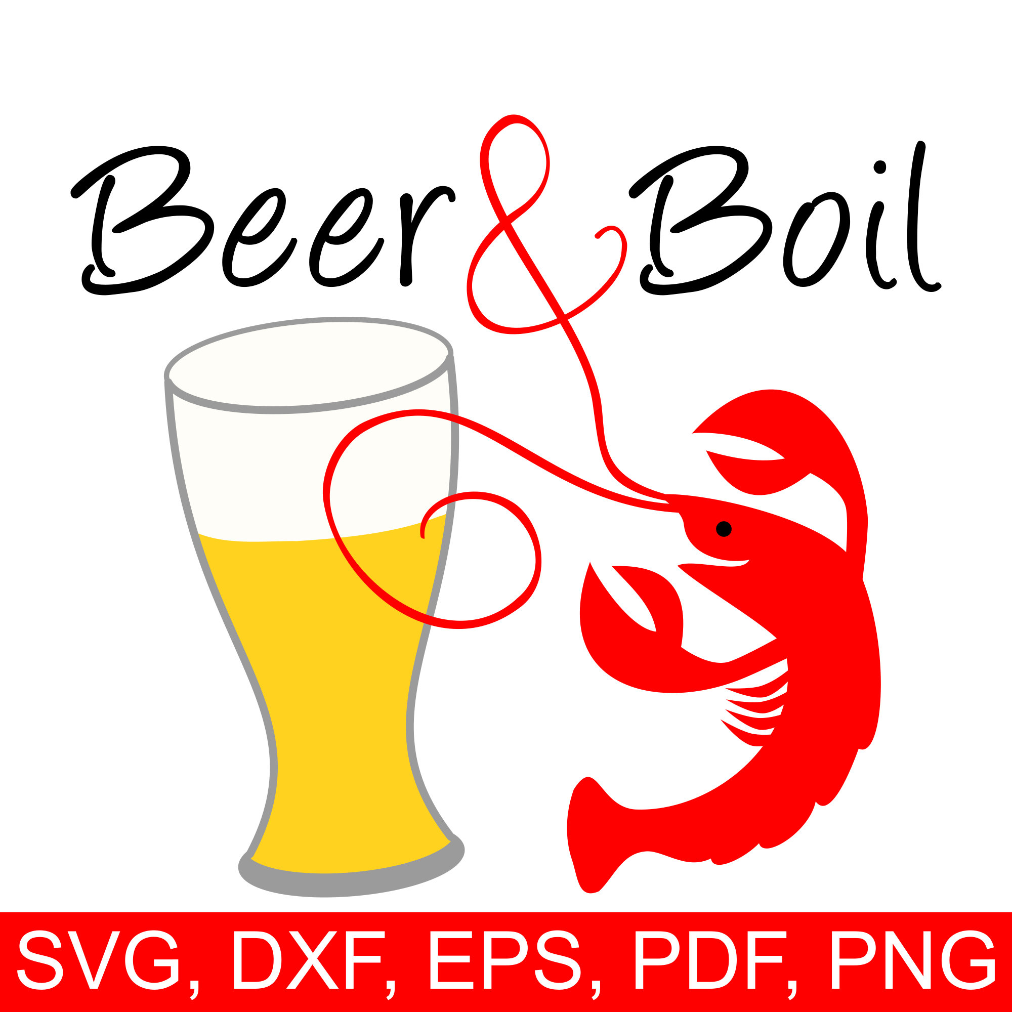 Crawfish Beer & Boil SVG File a very happy crawfish and a fresh beer.
