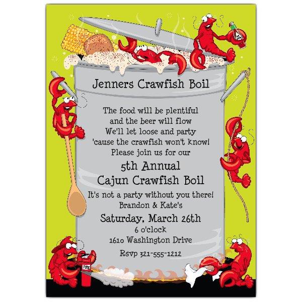 Crawfish Boil Invitations.