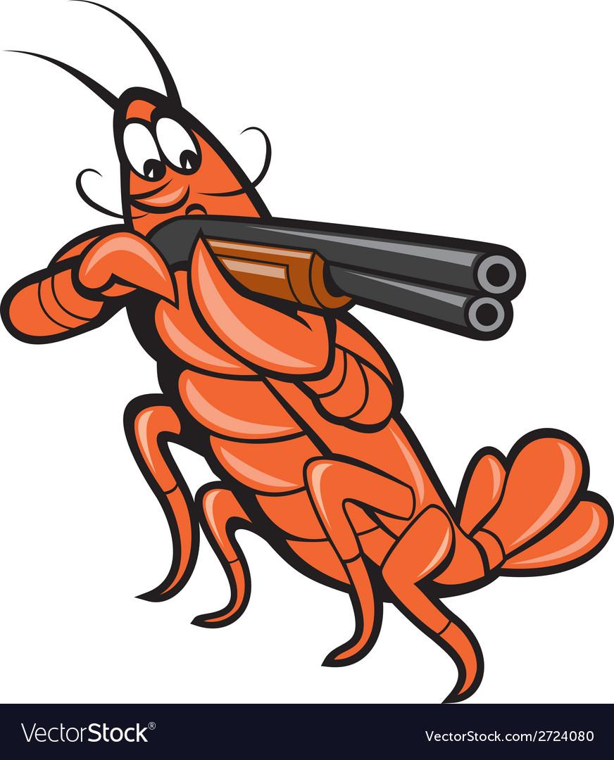 Crayfish Lobster Aiming Shotgun Cartoon.