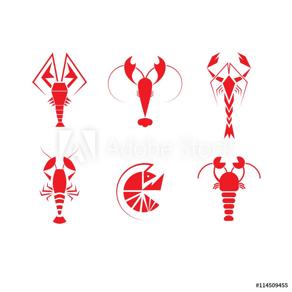 Photo & Art Print Crawfish Logo Set.