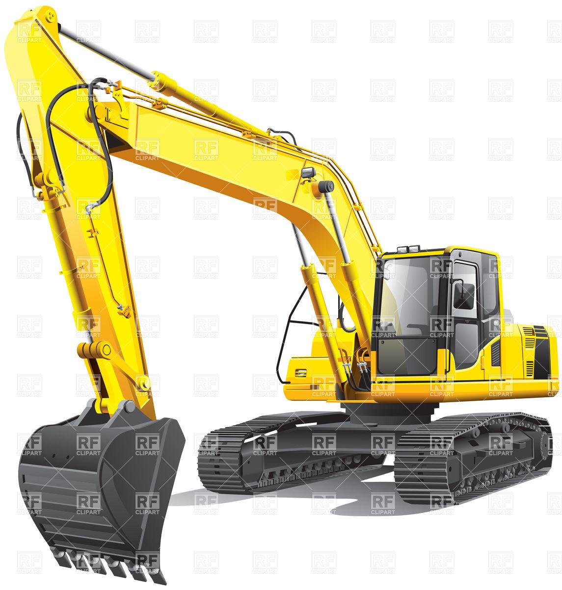 Large yellow crawler excavator Vector Image #6197.