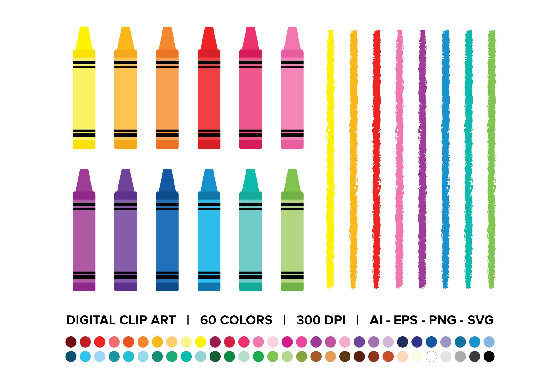 Crayon & Border Clip Art Set.
