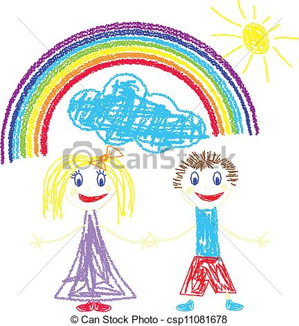 Vectors Illustration of Crayon pained kids and rainbow.