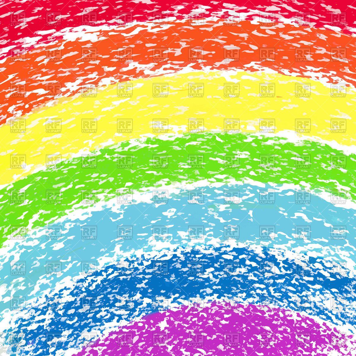 Rainbow painted by pastel crayons Vector Image #44513.