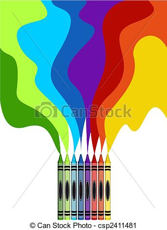 Vector Clip Art of Large colored crayons drawing a rainbow art.