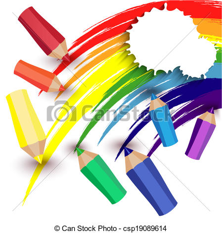 Vector Clip Art of crayons draw a rainbow.