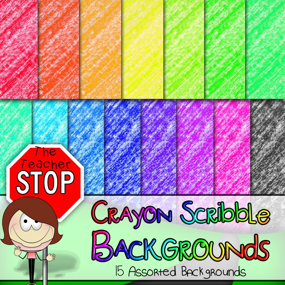 15 Colorful Crayon Scribble Backgrounds 12x12 {The Teacher.