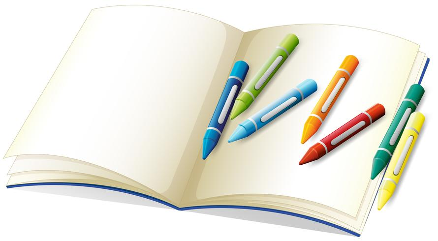 Blank book and many crayons.