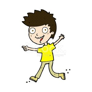 comic cartoon crazy excited boy Clipart Image.