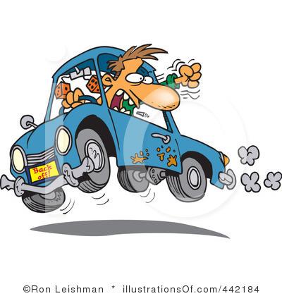 Crazy car driver clipart.