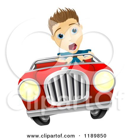 Cartoon of a Crazy Driver Teen Boy and Happy Girl Passenger.