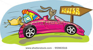 Easter Bunny Driving a Fast Car.
