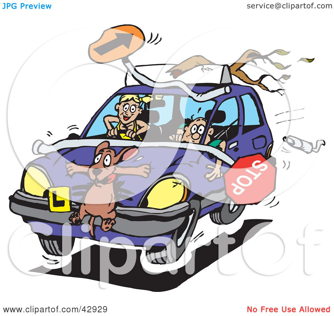 Clipart Illustration of a Crazy Teen Girl Running Over A Dog And.