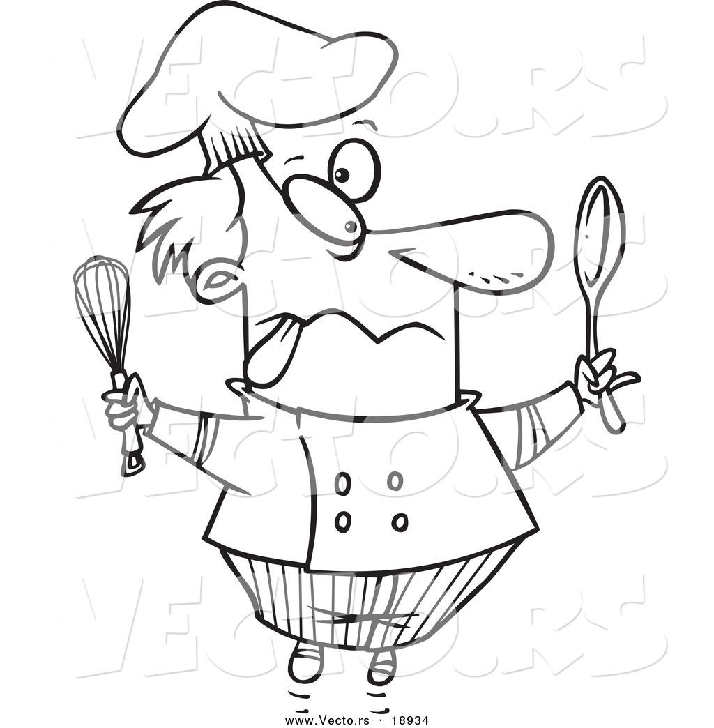 Vector of a Cartoon Crazy Chef.