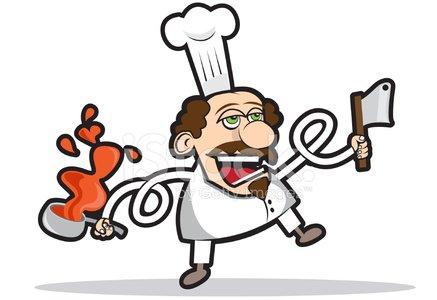 CRAZY CHEF cartoon Clipart Image.