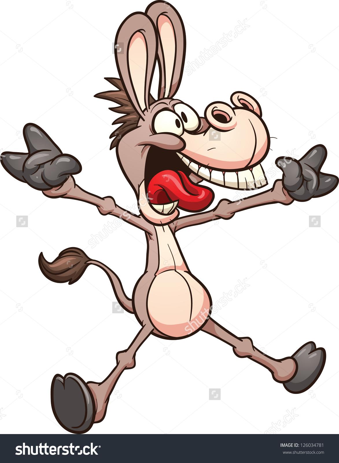 Crazy Donkey Mule Vector Clip Art Stock Vector 126034781.