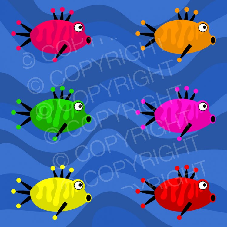 Cartoon Crazy Fish, Marine Animal Clip Art.