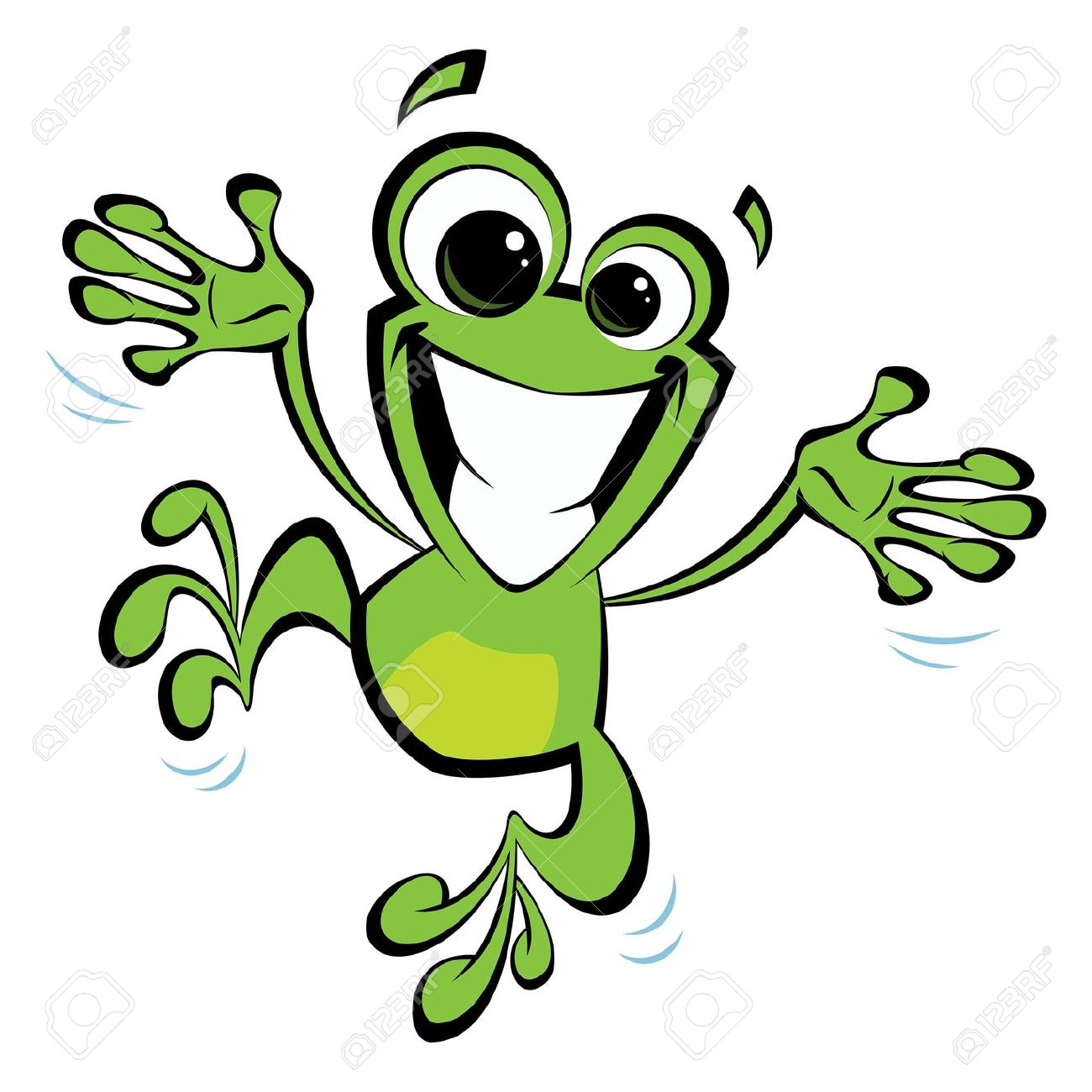 Happy Cartoon Green Smiling Frog Jumping Excited And Spreading.