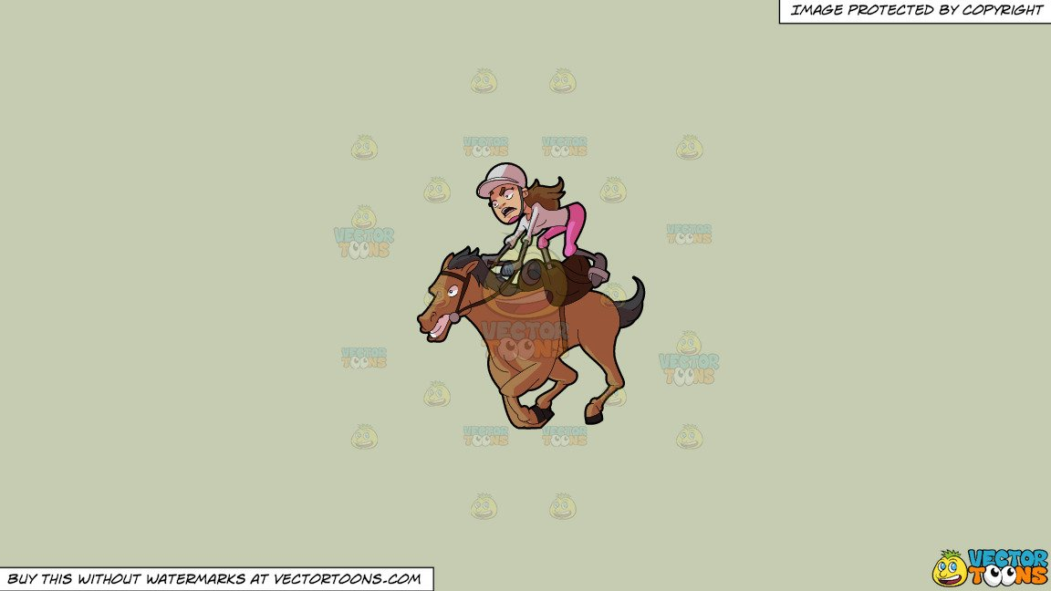 Clipart: A Female Jockey Riding A Crazy Horse on a Solid Pale Silver C6Ccb2  Background.