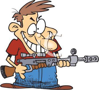 Cartoon of a Crazy Man Holding a High Powered Rifle.