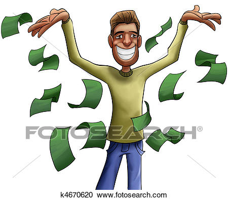 Young and crazy rich man Clipart.