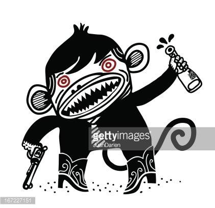 crazy monkey Clipart Image.