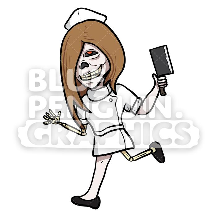 Crazy Nurse Zombie Running with a Knife Vector Cartoon Clipart Illustration.
