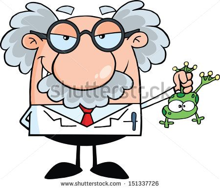Smiling Mad Scientist Or Professor Holding A Frog.