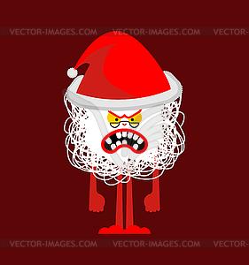 Angry Crazy Santa cartoon. Christmas grandfather..