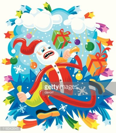Crazy Santa in a hurry Clipart Image.