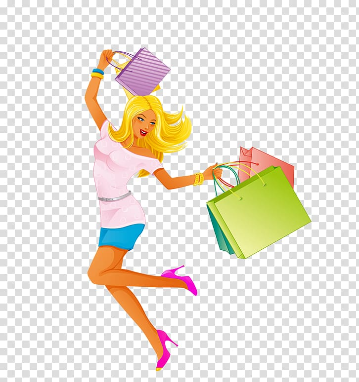 Woman Illustration, Crazy shopping girl transparent.
