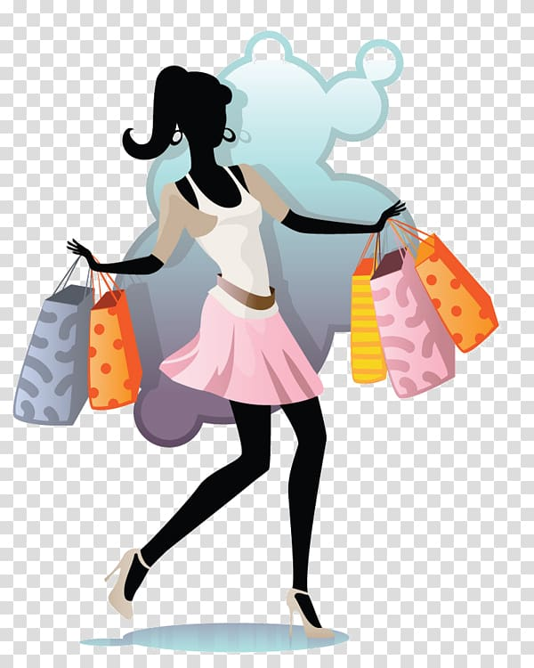 Woman Illustration, Crazy shopping fashion girl transparent.