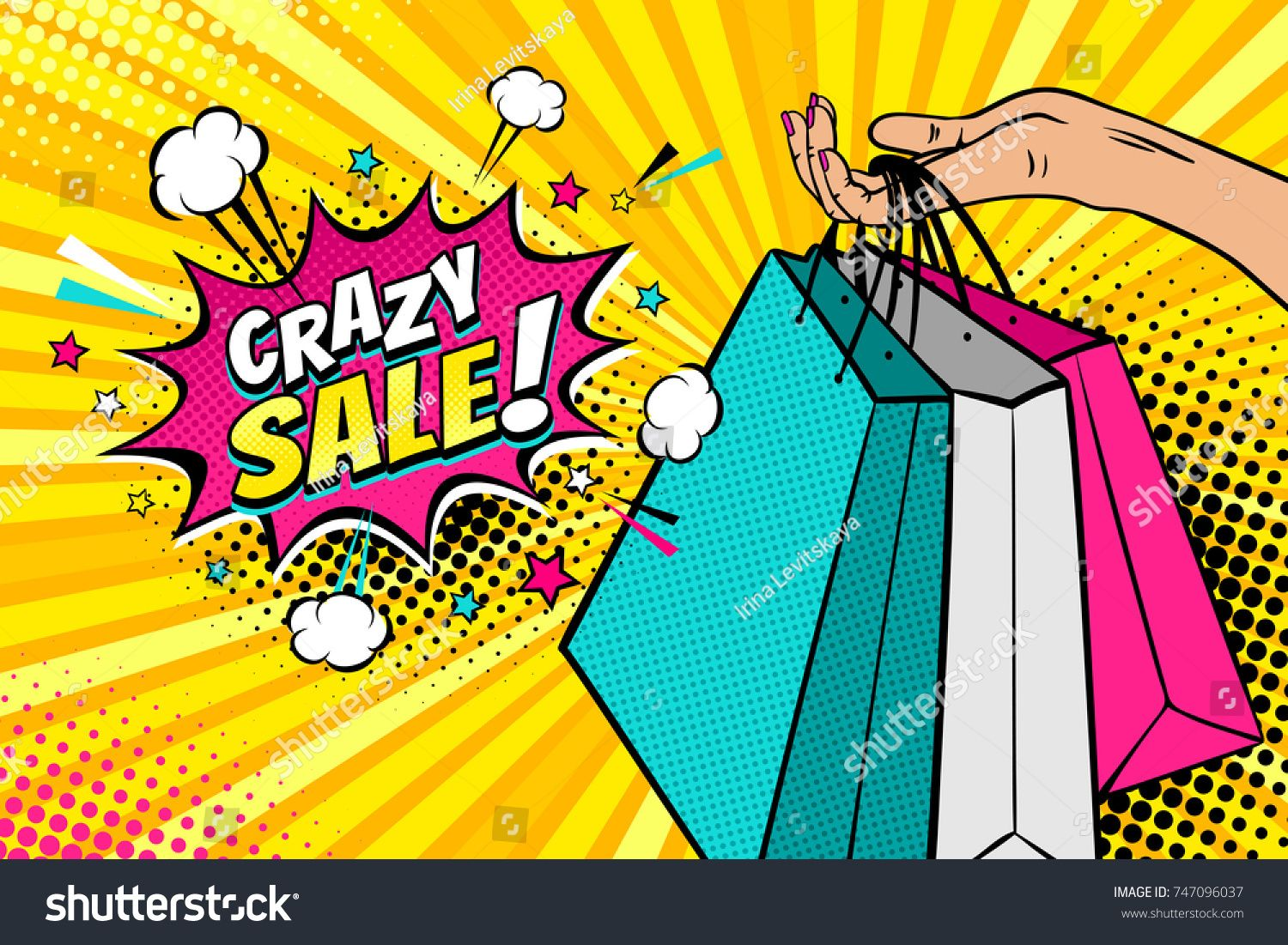 Pop art background with female hand holding bright shopping.