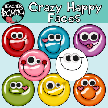 Crazy Happy SHINY Faces: Smiley Faces Graphics with Googly Eyes.