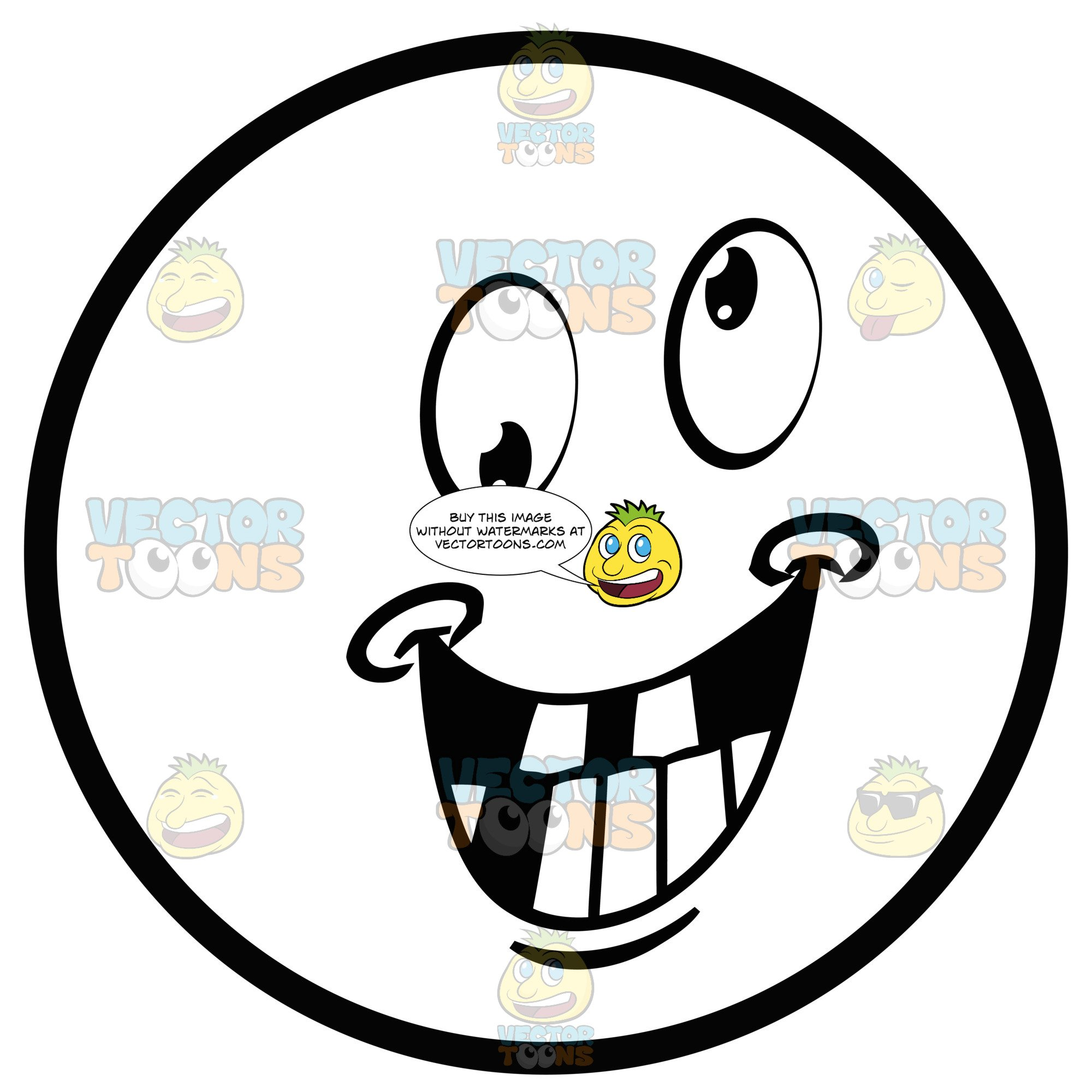 Crazy Large Eyed Black And White Smiley Face Emoticon Grinning, Missing  Teeth.