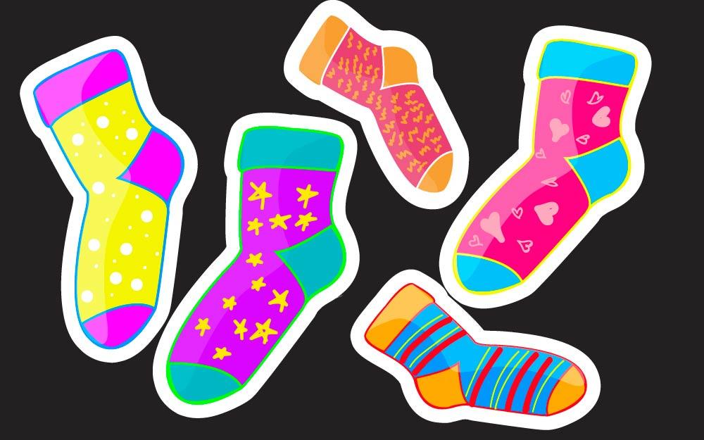 Crazy Socks Day Clip Art.