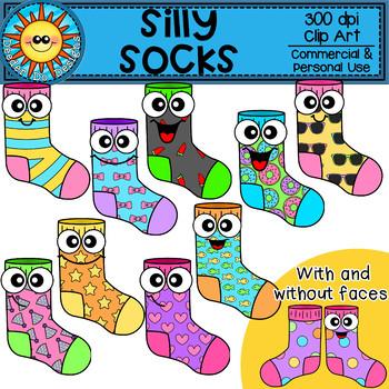 Silly Socks Clip Art.