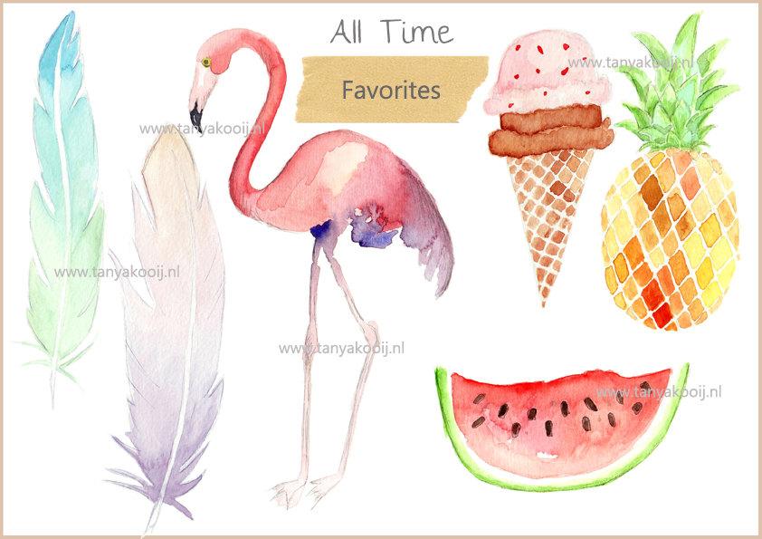 Watercolor Tropical Digital Clipart for Scrapbooking Summer.