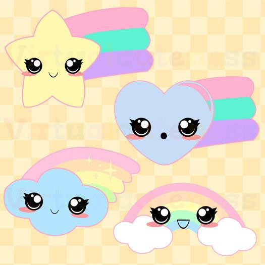 Kawaii Rainbows Clipart Cute Pastel Rainbows Kawaii.