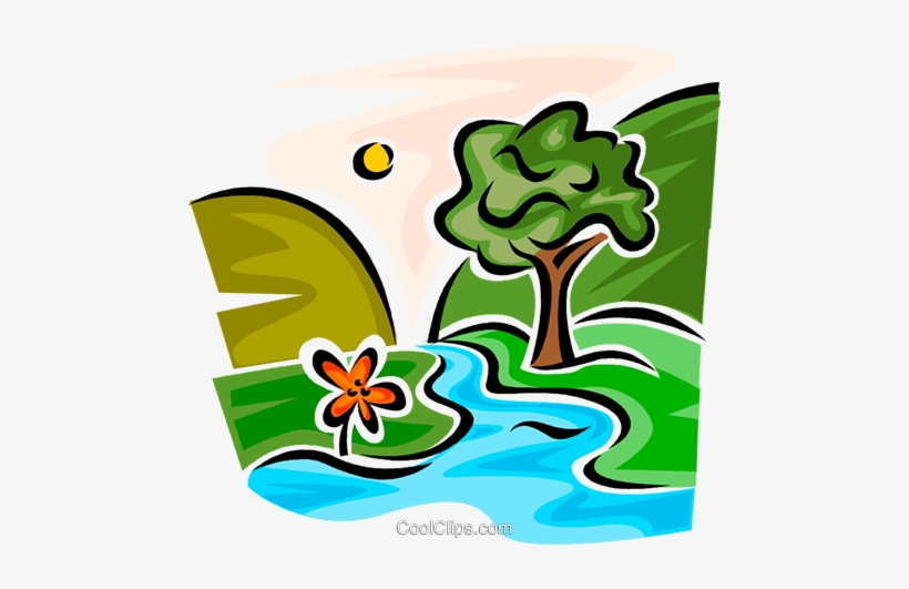 Mountain Creek With Trees Royalty Free Vector Clip.