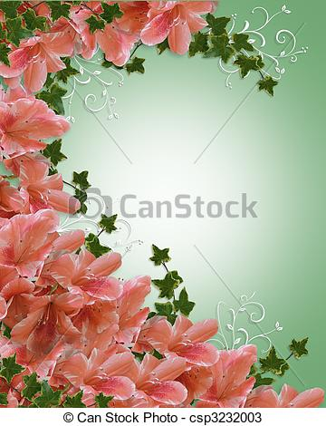 Drawings of Wedding invitation azalea floral.