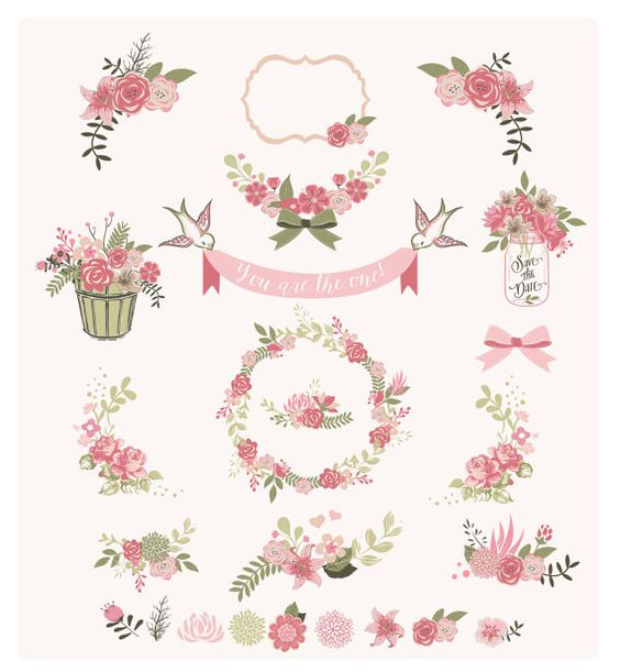 Flower frames and birds Digital Clipart Ribbons and Frames for.