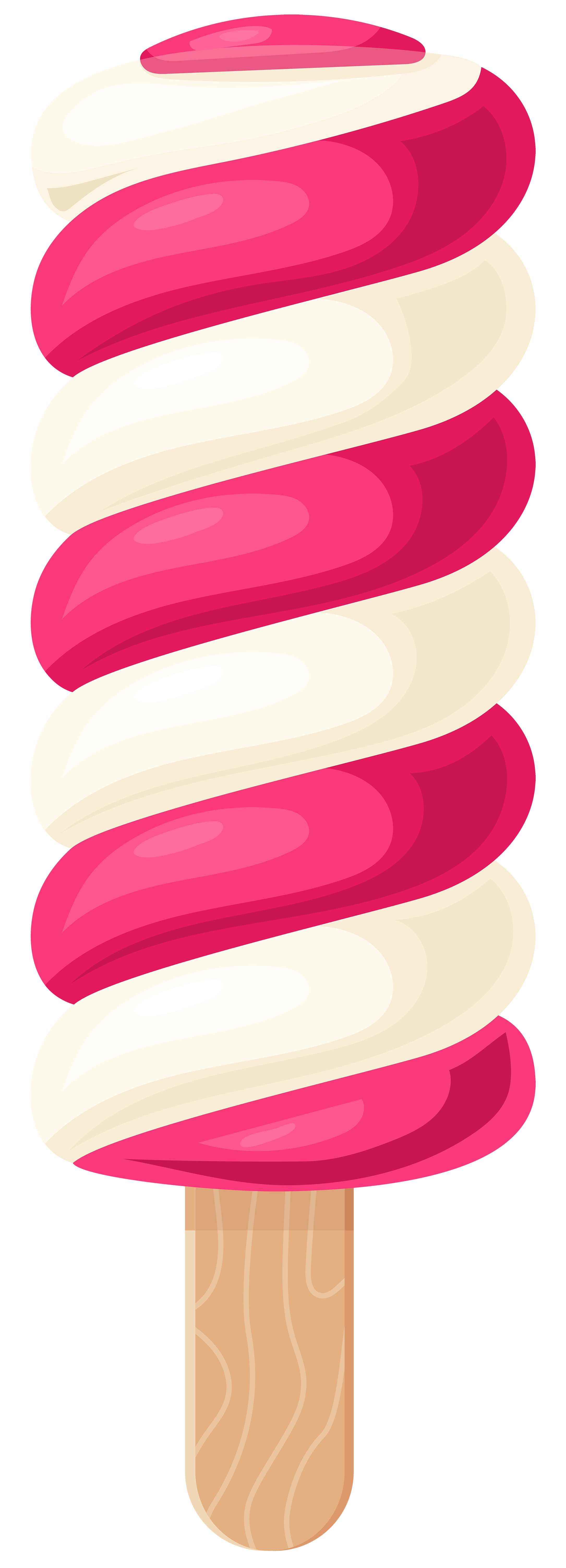 White Pink Ice Cream Stick PNG Clip Art.