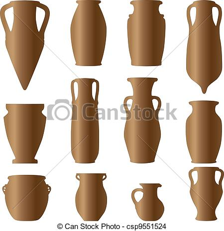 EPS Vector of antiquity ceramics terracotta clay vase csp9551524.