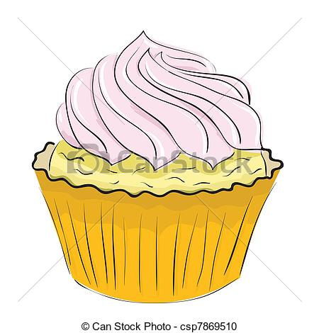 Vector Clipart of cake with cream.