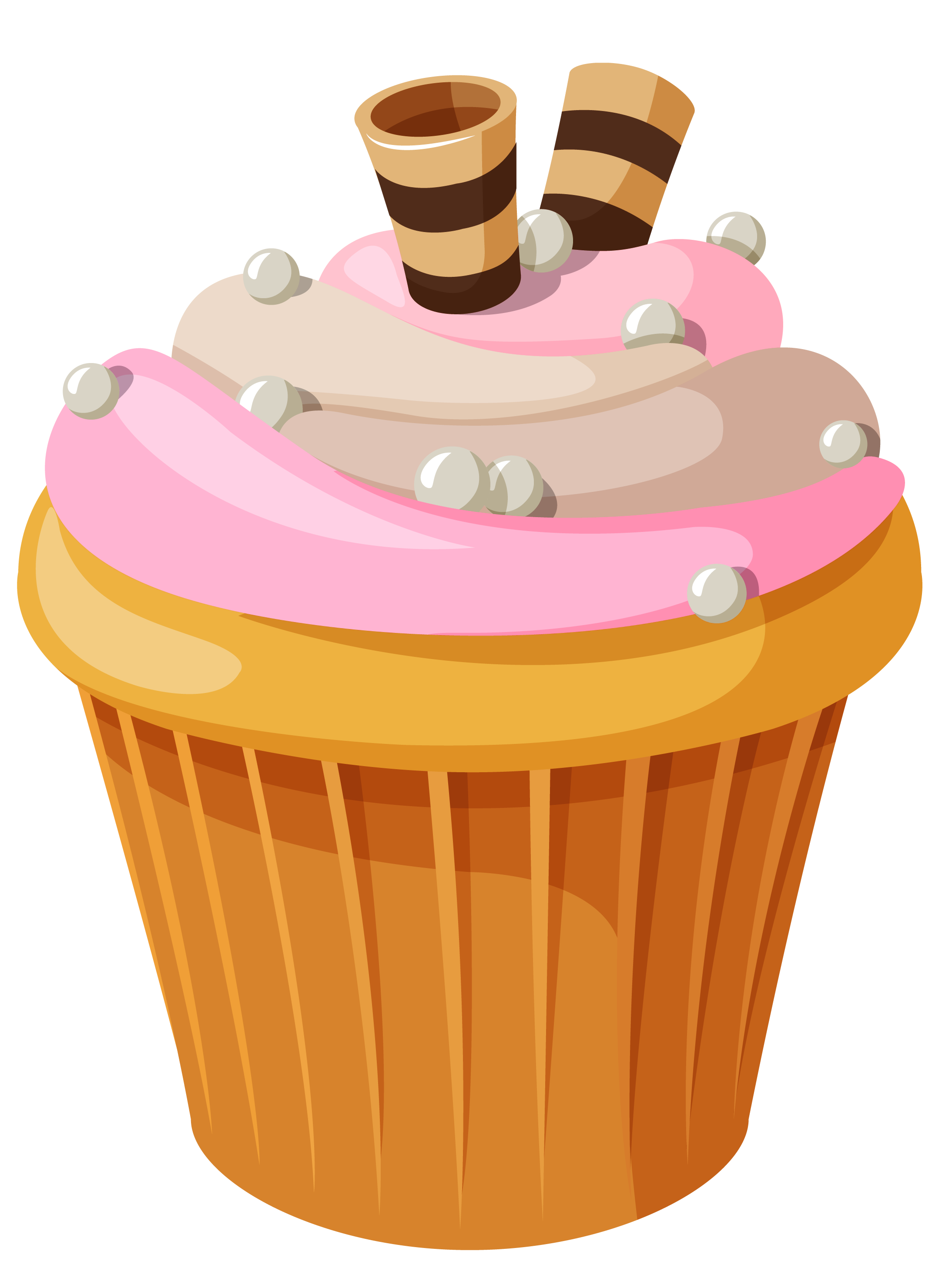 Mini Cake with Pink Cream PNG Clipart Picture.